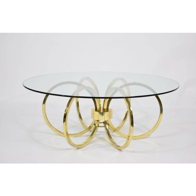 Milo Baughman Style Brass Finish Coffee Table - Image 2 of 6