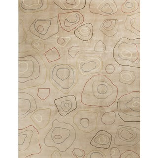 Contemporary Tan Wool Rug - 9′ × 11′9″