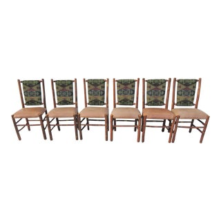 Old Hickory Adirondack Aztec/Leather Dining Chairs- Set of 6