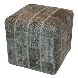 Anthracite Patchwork Ottoman Pouf