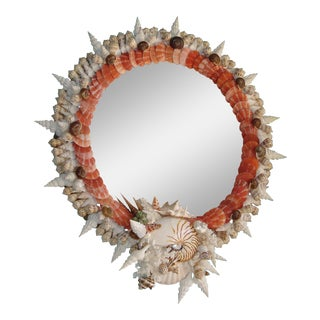Red Pectin Shell Wreath Round Wall Mirror