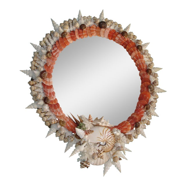 Red Pectin Shell Wreath Round Wall Mirror - Image 1 of 3