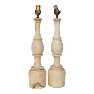 White Marble Table Lamps - A Pair
