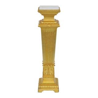 Gilt Carved Marbletop Pedestal