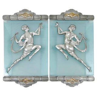 Affortunato Gory Style Art Deco Flapper Bronze Sconces - A Pair