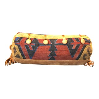 Southwestern Suede and Woven Rug Bolster