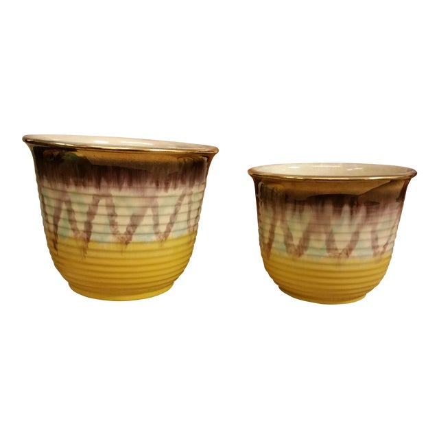 Yellow & Purple German Planters - A Pair - Image 1 of 8