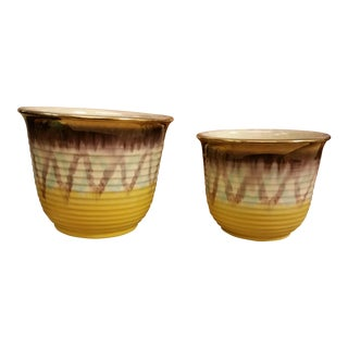 Yellow & Purple German Planters - A Pair