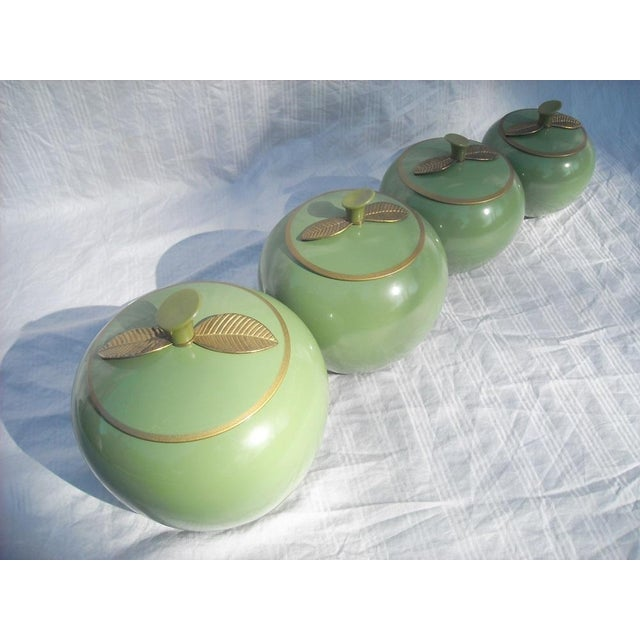 Image of Mid-Century Jade Green Apple-Shaped Canisters -S/4