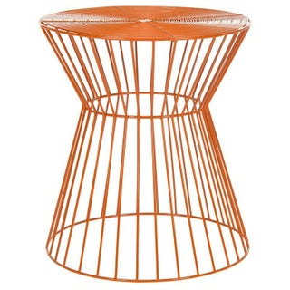 Adele Iron Wire Stool - Orange