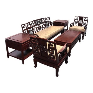 Chinese Antique Carved Rosewood Sofa & Tables Set - Set of 6