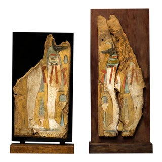 Pair of Third Intermediate Period Painted Wooden Panels