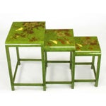 Image of Three Embossed & Parcel Gilt Rich Jade Green Nesting Tables