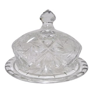 Lead Crystal Cut Glass Dome Top Cheese Serving Dish