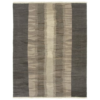 Rug & Relic Contemporary Gray Yeni Kilim -6'x 7'9""