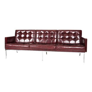 Florence Knoll Oxblood Leather Sofa