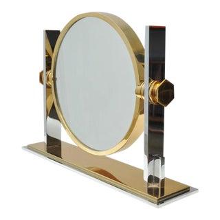 Karl Springer Chrome and Brass Vanity Mirror