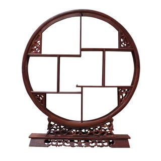 Chinese Red Brown Wood Round Small Curio Display Stand cs2625