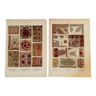 Early 20th Century Prints Eastern European Embroidery - A Pair