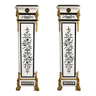 French Empire Style Marble Pedestals - A Pair