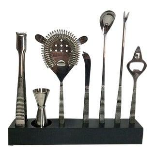 Vintage Mid-Century Modern Bar Tool Set in Bakelite Caddie - Set of 8