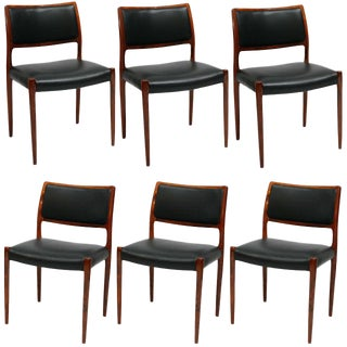 Set Of 6 Rosewood Niels Moller Dining Chairs