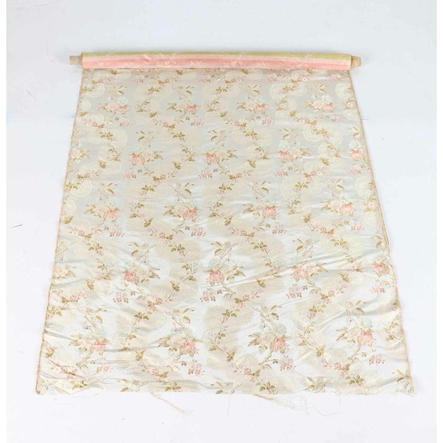 Roll of 7 Yards Heavy Floral Embroidered Silk Brocade Satin Upholstery Fabric - Image 2 of 9