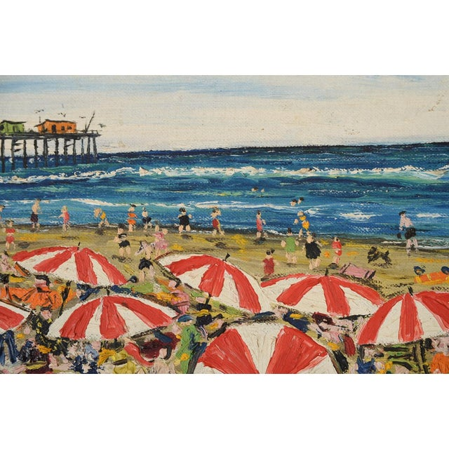 Santa Monica Pier Beach Scene 1950s Oil Painting - Image 5 of 10