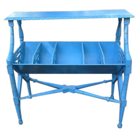Image of Chippendale Blue Faux Bamboo Fretwork Shelf Table