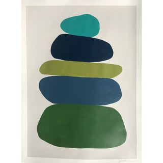 Cairn in Blues and Greens Painting