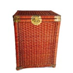 Image of 1970s Vintage Wicker Chinoiserie Trunk Hamper