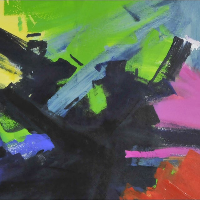 Multicolored Abstract Oil Painting - Image 2 of 2