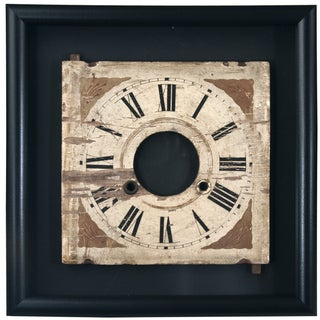 Framed Vintage Wood Clock Face