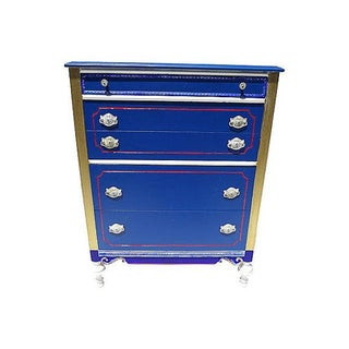 Antique Blue and Red Painted Dresser