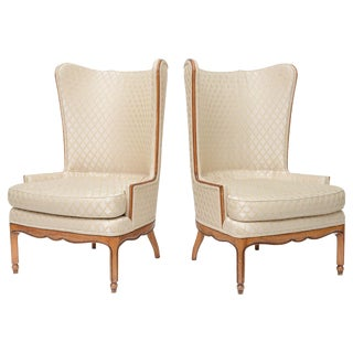 Grosfeld-Style 1950 Wingback Club Chairs - A Pair