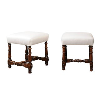 Pair of Italian Walnut Stools with Upholstered Seats and Turned Legs, circa 1710