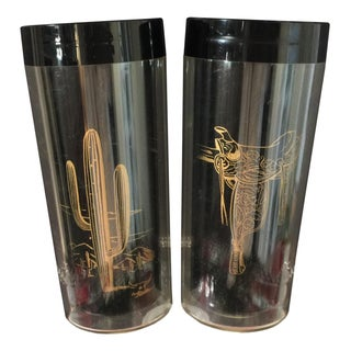 Black & Gold Vintage Thermo Insulated Cowboy Glasses - Pair