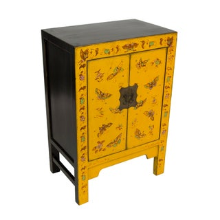 Beijing Style Yellow Butterfly Hand-Painted Cabinet