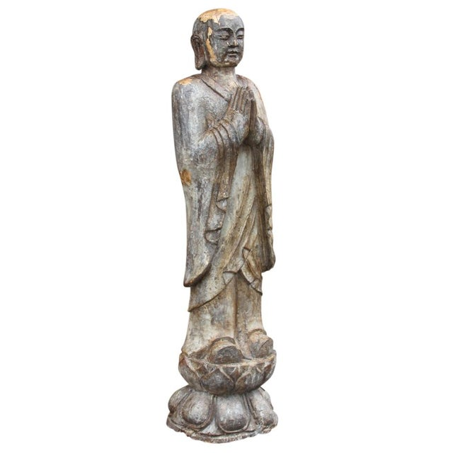 Antique Wooden Monk Statue - Image 2 of 6