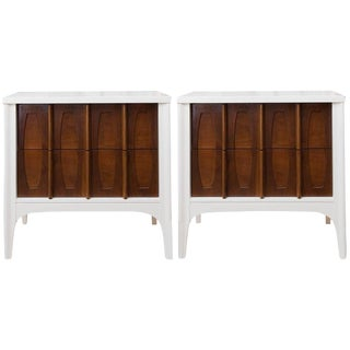 Mid-Century Modern Lacquered Sculptural Front Nightstands - a Pair
