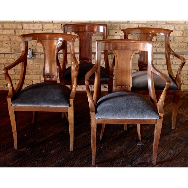 "Empire ""Chaise en Gondole"" Fruitwood Baker Dining Chairs - Set of Four - Image 8 of 8"