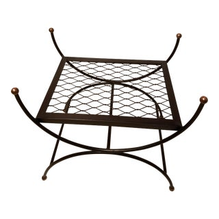 Hollywood Regency Neoclassical Salterini Style Iron & Brass Bench