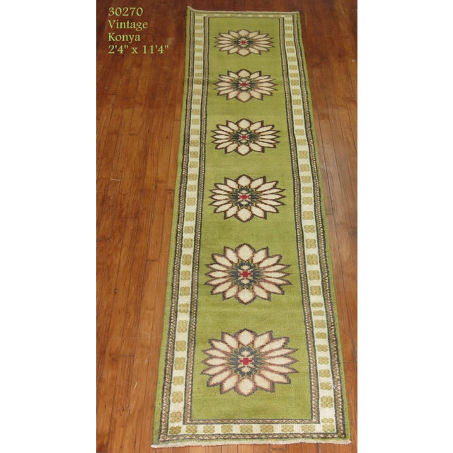 Lime Green Vintage Konya Runner - 2'4'' X 11'4'' - Image 3 of 5