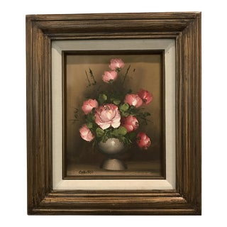 Vintage Pink Floral Oil Still Life Painting, Signed