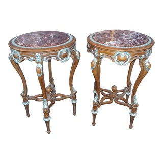 Hand Carved Marble Top End Tables - Pair
