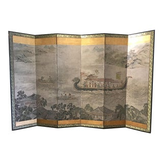 "Chinese Six Panel Painted Folding Paper Screen ""Dragon Boat Festival"""