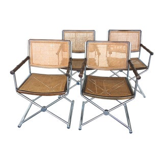 Mid-Century Faux Bamboo & Chrome Directors Chairs