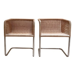 Harvey Probber Wicker Cantilever Chairs - A Pair