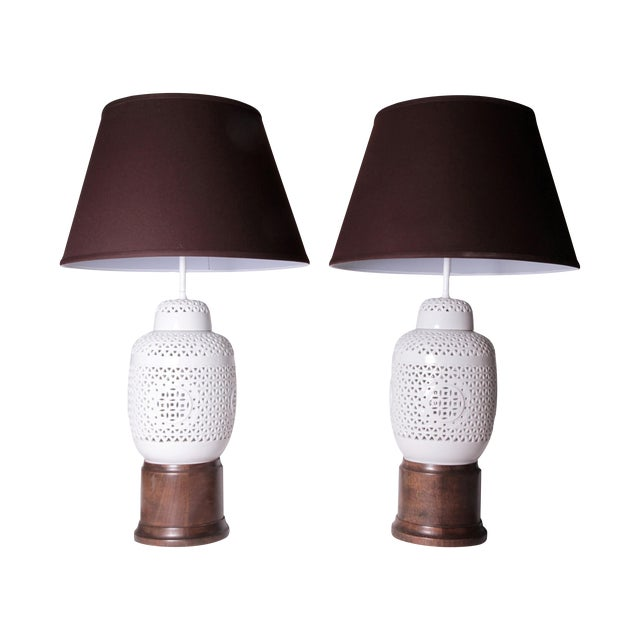 Vintage White Ceramic & Wood Lamps - A Pair - Image 1 of 7