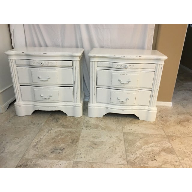 shabby chic nightstands by tg design a pair chairish. Black Bedroom Furniture Sets. Home Design Ideas